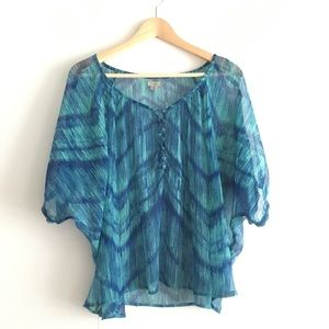 Ecote Wave Print Sheer Blouse Button Up Top